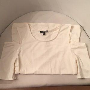 Express small cold shoulder T-shirt yoga stretch